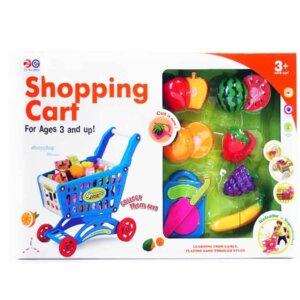 Bērnu rotaļu iepirkuma ratiņi ar augļiem, rotaļlietu komplekts