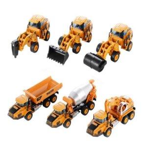 Rotaļu būvtehnikaskomplekts, metāla modelīši, traktori, smagā tehnika, būvdarbu mašīnas, rotaļlieta bērniem, dzelteni traktori