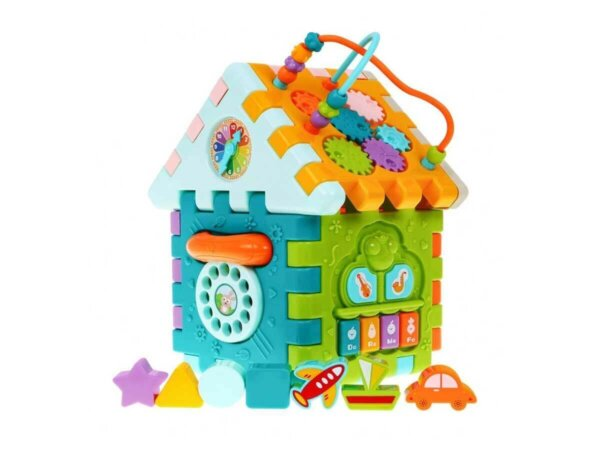 Attīstošas rotaļlietas mazuļiem, busy board, spēles bērniem, rotaļu mājiņa ar klucīšiem.