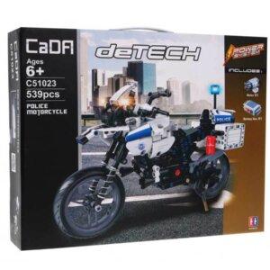 konstruktors motocikls, motocikls no klucīšiem, policijas motocikls, rotaļu induro motocikls, Cada 51023