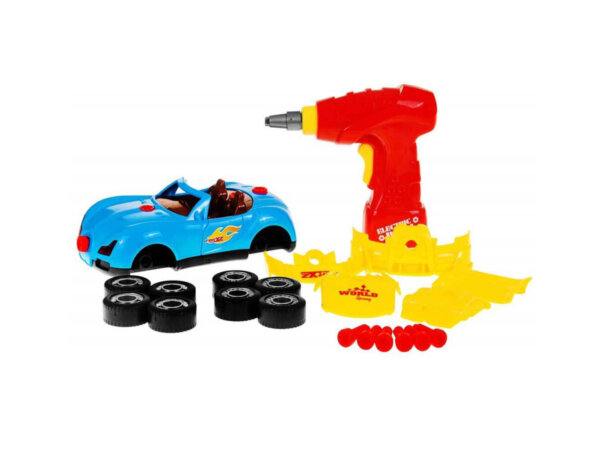 Rotaļu auto darbnīca, saskrūvējamā rotaļu mašīna, attīstošās rotaļlietas bērniem.