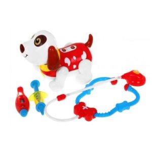 Interaktīvā rotaļlieta suns,veterināra komplekts,suns robots,ārsta komplekts