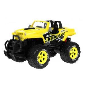 radiovadāmā rotaļlieta uz akumulatora, radiovadāmais liels džips, bērnu rotaļlietas ar pulti, dzeltena rotaļu mašīnīte, rotaļu apvidus mašīnīte.
