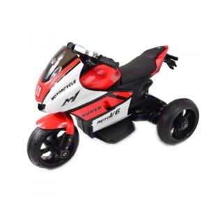 elektro tricikls ar mūziko, sarkans bērnu motocikls, āra rotaļlietas.