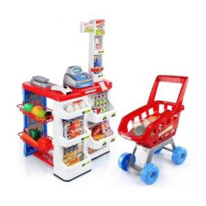 Rotaļu iepirkumu ratiņi ar produktiem